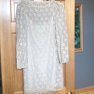 Jessica Howard lined creme lace tunic dress